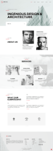 full homepage screenshot of a UI & UX design template of Architecture Firm Website design and development company in bangalore India