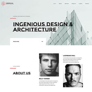 half homepage screenshot of a UI & UX design template of Architecture Firm Website design and development services company bangalore India