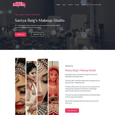 7 makeup studio by saniya Web Design by ABS Bangalore