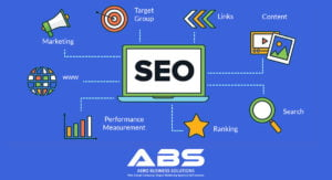 blue image of the 7 steps invloved in seo of a wordpress website. Marketing, target group, link building, content search ranking, performance measurement, domain authority by Best SEO company SEO services SEO experts in bangalore Aero Business Solutions ABS