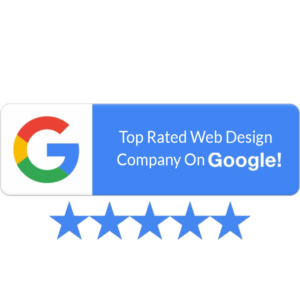 800X800 pixels wide Blue Google My Business 5 Star Rating Badge of top rated web design company on google aero business solutions abs bangalore india